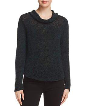 Eileen Fisher - Marled-Knit Cowl-Neck Sweater ... cdfeb755f