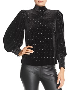 Rebecca Minkoff - Studded Balloon-Sleeve Velvet Top