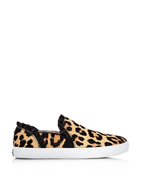 kate spade new york - Women's Lilly Ruffle-Trim Leopard Print Calf Hair Slip-On Sneakers