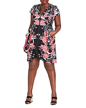 City Chic Plus Romaji Floral-Print Zip-Front Dress