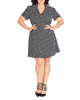 City Chic Plus - Short-Sleeve Heart-Print Dress