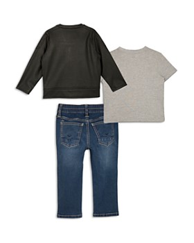 Hudson - Boys' Faux Leather Biker Jacket, Stay Wild Graphic Tee & Jeans Set - Little Kid