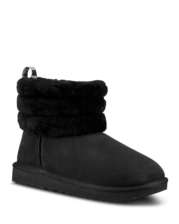 UGG® - Women's Fluff Mini Quilted Round Toe Suede & Sheepskin Booties