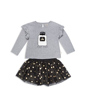kate spade new york - Girls' Chic Graphic Top & Metallic Dot Skirt Set - Little Kid