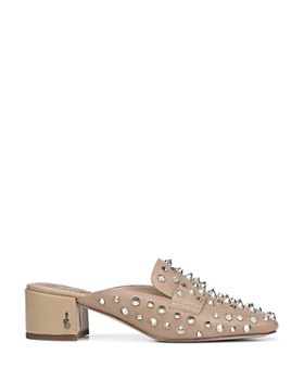 Sam Edelman - Women's Augustus Almond Toe Studded Leather Mules