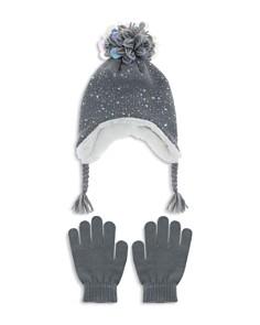 Capelli - Girls' Iridescent Speckled Pom-Pom Hat & Gloves Set - Little Kid, Big Kid