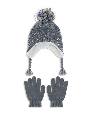 f280041136d Capelli - Girls  Iridescent Speckled Pom-Pom Hat   Gloves Set - Little Kid
