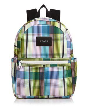 STATE Kane Mini Plaid Backpack in Plaid Multi/White