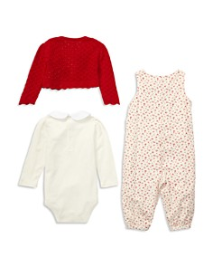 Ralph Lauren - Girls' Knit Sweater, Printed Overalls & Long-Sleeve Bodysuit Set - Baby