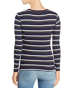 FRAME - Ruched Striped Rib-Knit Tee