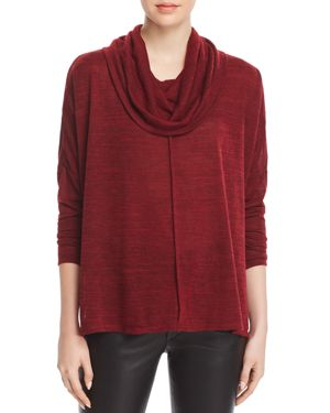 STATUS BY CHENAULT Status By Chenault Cowl Neck Poncho Sweater in Burgundy