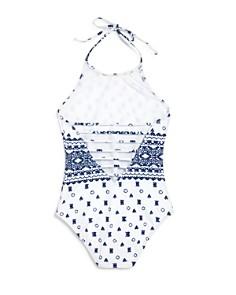 Splendid - Girls' Boarder Stripe Halter Swimsuit - Little Kid, Big Kid