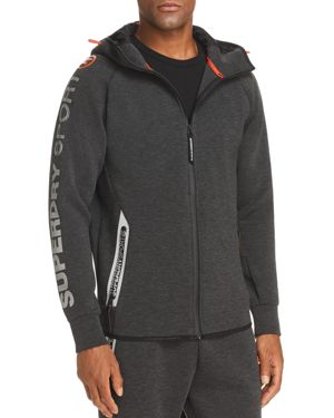 SUPERDRY Gym Tech Zip-Front Hoodie in Carbon