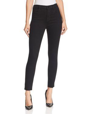 Alana High Waist Raw Hem Ankle Skinny Jeans in Black
