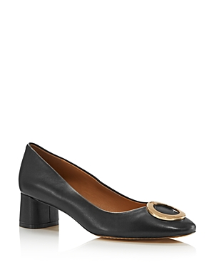 Tory Burch Women's Caterina Round Toe Embellished Leather Pumps