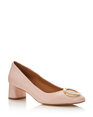 Women's Caterina Round Toe Embellished Leather Pumps by Tory Burch