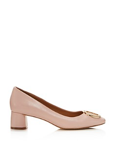 Tory Burch - Women's Caterina Round Toe Embellished Leather Pumps