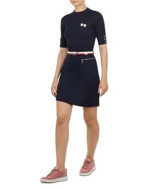 Colour By Numbers Elsbeth Mix Media Dress, Navy