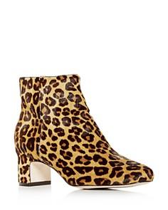 Joan Oloff - Women's Aeron Leopard Print Calf Hair Block-Heel Booties