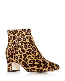 Joan Oloff - Women's Aeron Leopard Print Calf Hair Block-Heel Booties