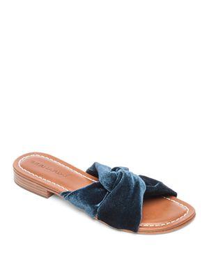 Bernardo Women's Tiffany Knotted Velvet Slide Sandals