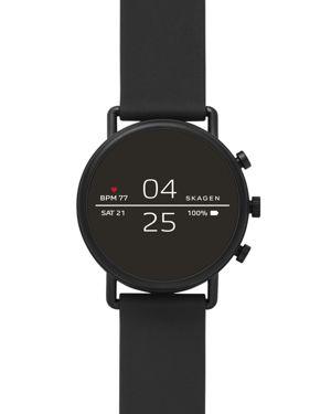 SKAGEN Men'S Falster 2 Black Silicone Strap Touchscreen Smart Watch 40Mm