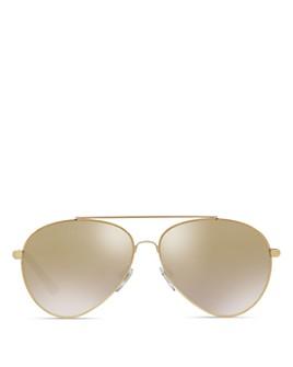 Burberry - Mirrored Check Aviator Sunglasses, 57mm