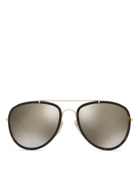 Burberry - Women's Polarized Check Aviator Sunglasses, 58mm