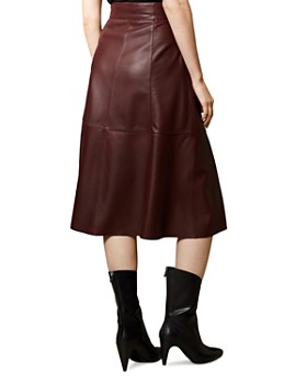 KAREN MILLEN - Zip-Front Leather Midi Skirt