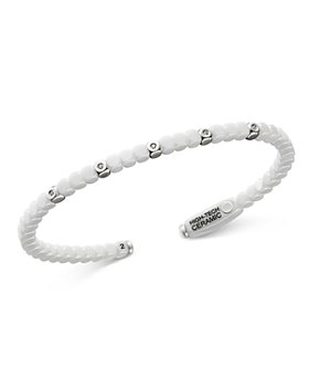 Roberto Demeglio - 18K White Gold & White Ceramic Dado Bangle Bracelet with Bezel Diamonds