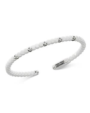 Roberto Demeglio 18K White Gold & White Ceramic Dado Bangle Bracelet with Bezel Diamonds