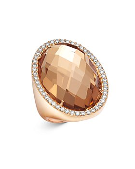 Roberto Coin - 18K Rose Gold Rock Crystal Cocktail Ring with Diamonds
