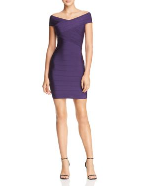 WOW COUTURE Off-The-Shoulder Body-Con Dress in Uva Deep Purple