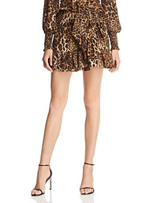 AQUA - Ruffled Leopard Print Mini Skirt - 100% Exclusive