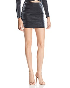 AQUA - Metallic Ruched Mini Skirt - 100% Exclusive