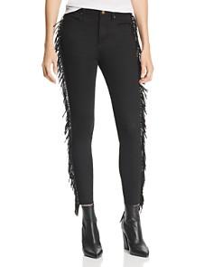 AQUA - Fringed Skinny Jeans in Black - 100% Exclusive
