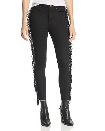 AQUA - Fringed Skinny Jeans in Black - 100% Exclusive