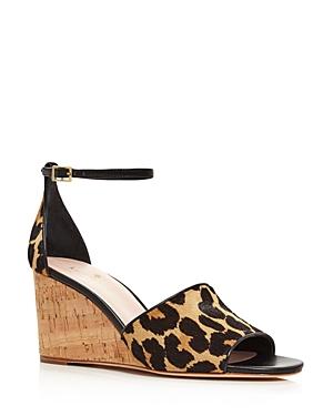 kate spade new york Women's Lonnie Leopard Printed Calf Hair Wedge Sandals