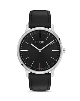 HUGO - #EXIST Black Leather Watch, 40mm