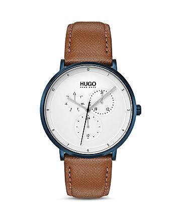 HUGO - #GUIDE Brown Leather Watch, 40mm