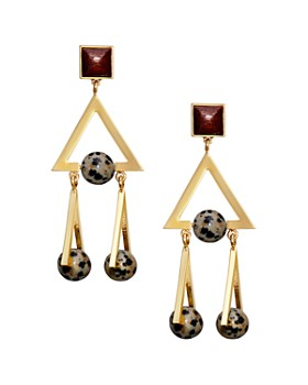 Tory Burch - Triple Triangle Stone Drop Earrings