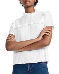 Maje - Lamou Ruffled Pleated Tie-Back Top