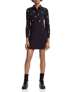 Embroidered Collared A-Line Mini Dress, Black