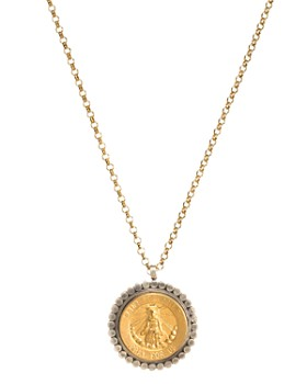 """Dogeared - Wonder Worker Saint Peregrine Necklace in 14K Gold-Plated Sterling Silver, 18"""""""
