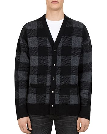 The Kooples - Buffalo-Check Merino Wool Cardigan Sweater