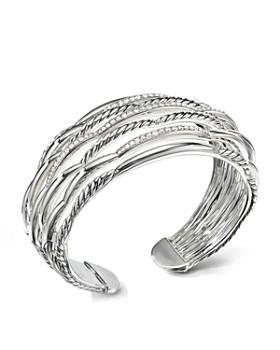 David Yurman - Tides Wide Woven Cuff with Diamonds & Sterling Silver