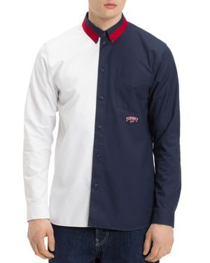 TOMMY JEANS Color-Block Regular Fit Button-Down Shirt in Classic White / Black Iris
