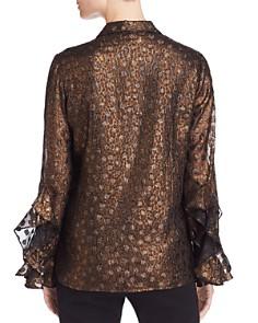 Donna Karan - Metallic Ruffle Sleeve Top