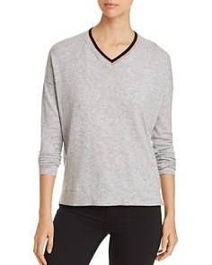 Donna Karan - Contrast V-Neck Sweater