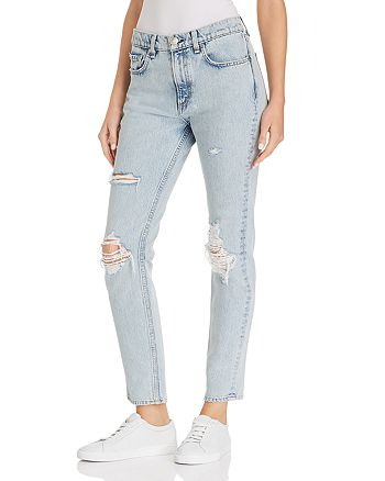 rag & bone - High-Rise Distressed Skinny Jeans in Madison with Hole